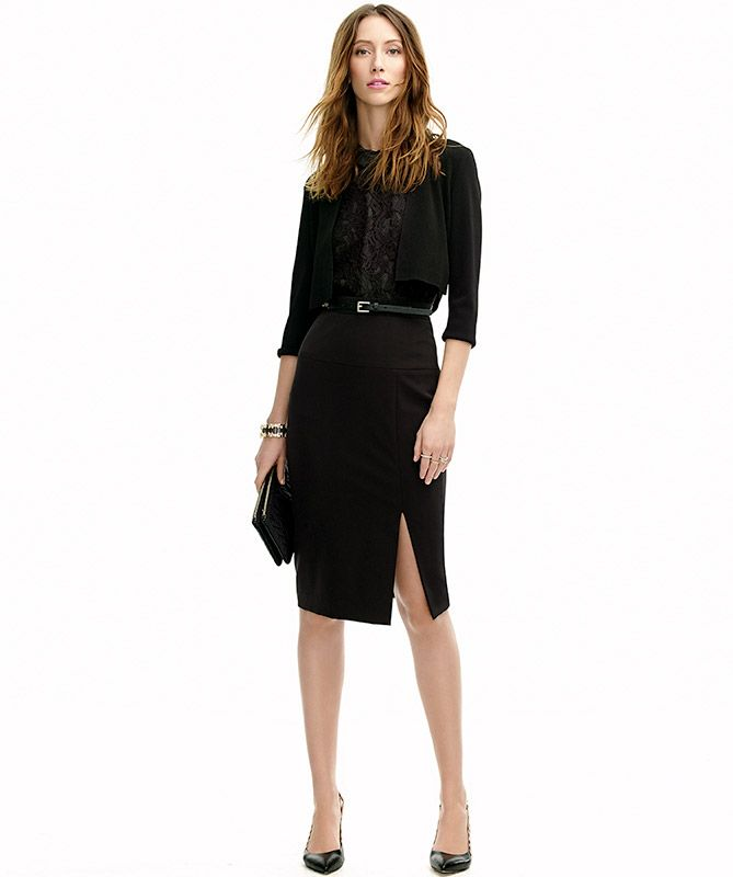 Love all-black work outfits. This skirt is killer.