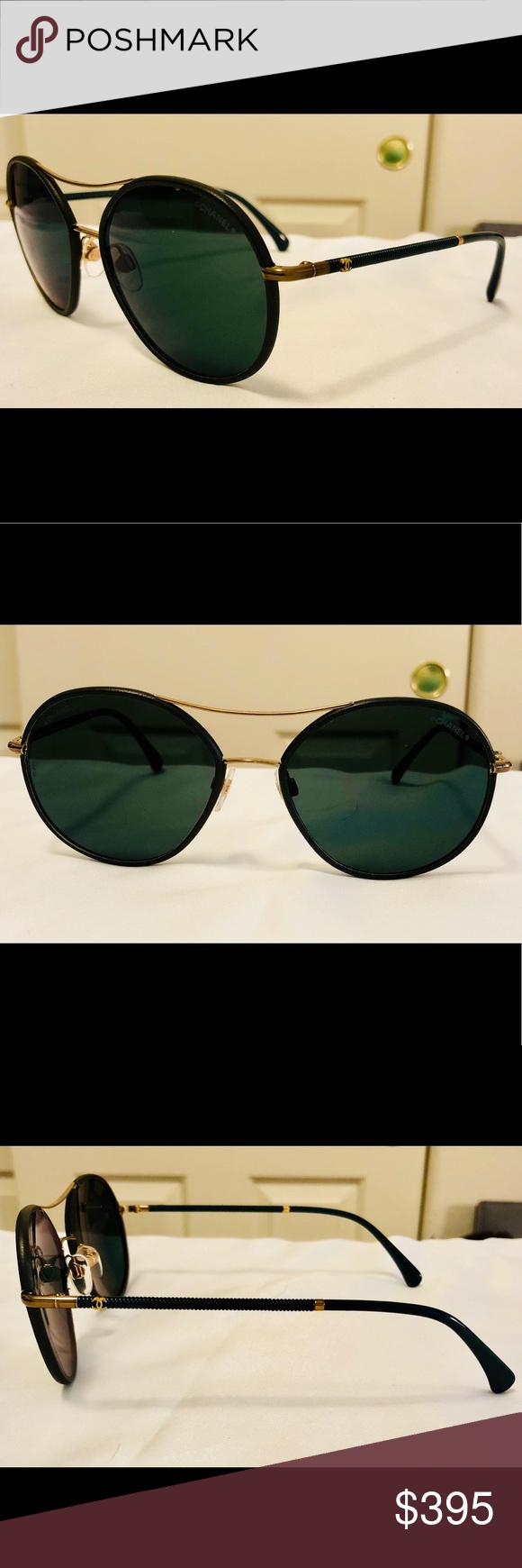 54c0cb1820436 EUC Pilot Chanel Dark Green Sunglasses 4228-Q Coming CHANEL Accessories  Sunglasses