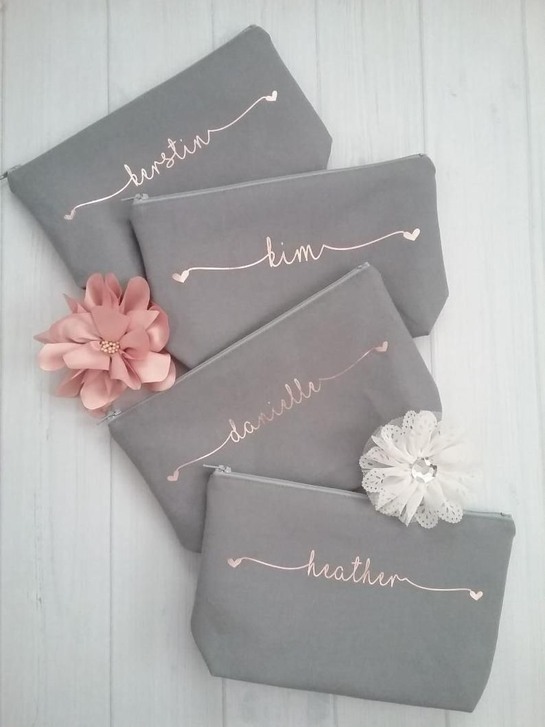Set of 8 Personalized Canvas Makeup Bags - Bridesmaid Makeup Bag - Bridesmaid Gift - Hearts Canvas Bag - Bridal Cosmetic Bag - BFF Gift