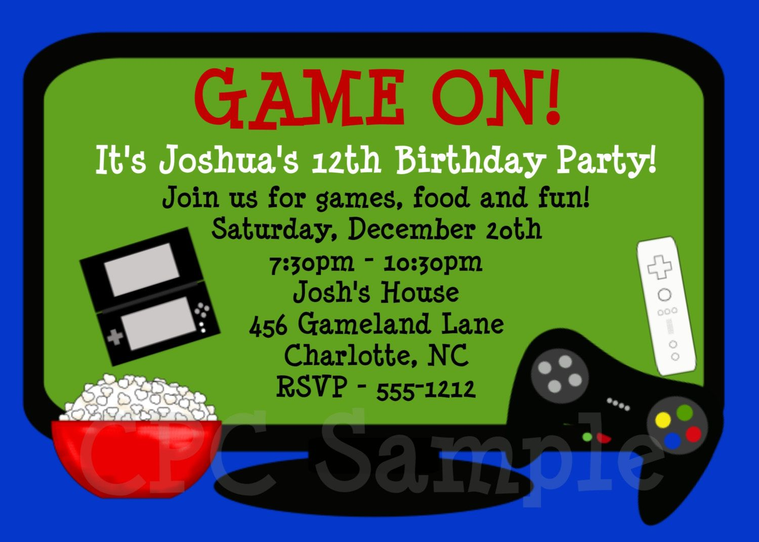 Video Game Birthday Invitation Printable Party Invite – Boy Party Invitations