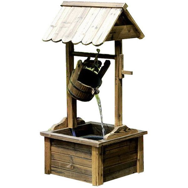 Wishing Well Wood Outdoor Patio Water Fountain with Pump - Rustic ...