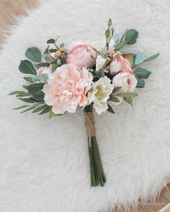Diameter 9 Hand Tied PEACH Paper Bridal Bouquet   Boho | Etsy