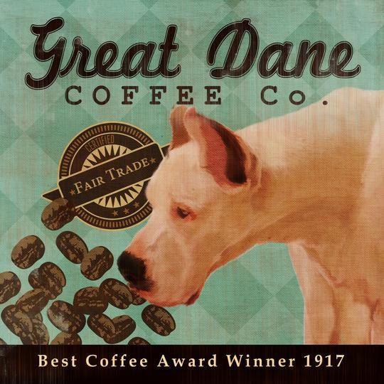 Great Dane Coffee Co 12x12 Modern Vintage Giclee Print Mixed