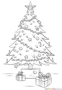 How to draw a Сhristmas Tree step by step. Drawing