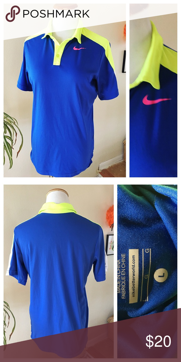 073ea46a6 Nike Dri Fit Women's Polo Size Large Nike Dri Fit Lightweight Polo Women's  size Large Neon accents Recycled Poly Preowned with no flaws Measurements  flat ...
