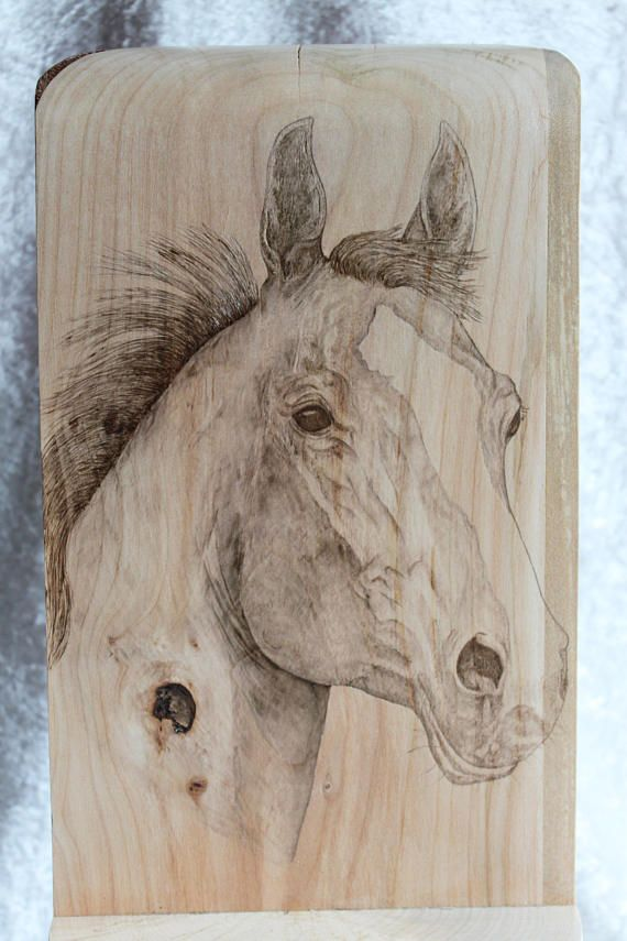 Wooden Jewelry Box with Horse Pyrography