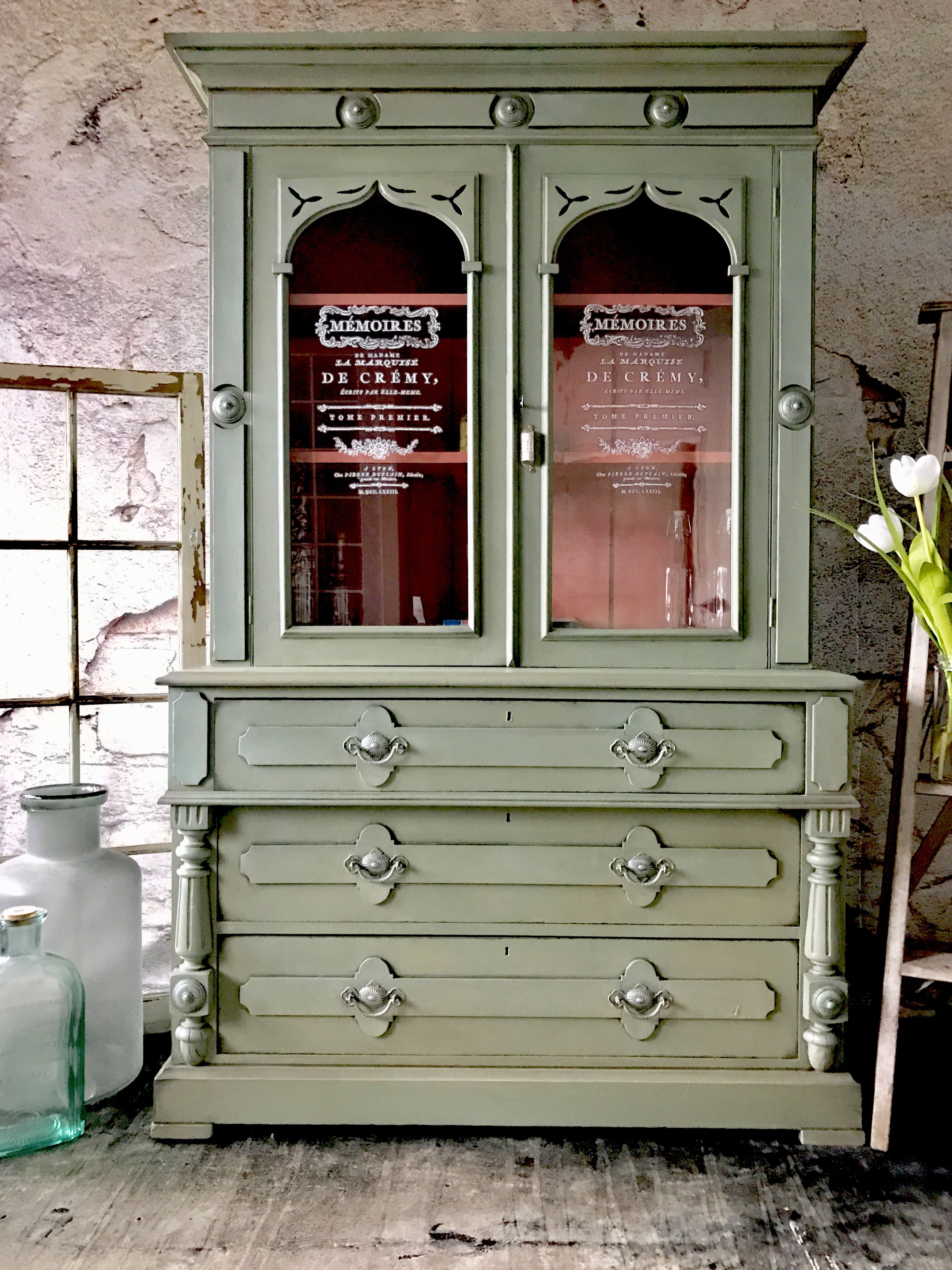 Chalk Painted Cabinet In Annie Sloan S Chalk Paint Olive Provence And Scandinavian Pink Green Painted Furniture Chalk Paint Cabinets Painted China Cabinets