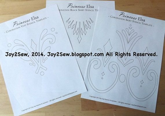 Elsa frozen coronation dress and vest stencil templates by joy2sew, $3.50