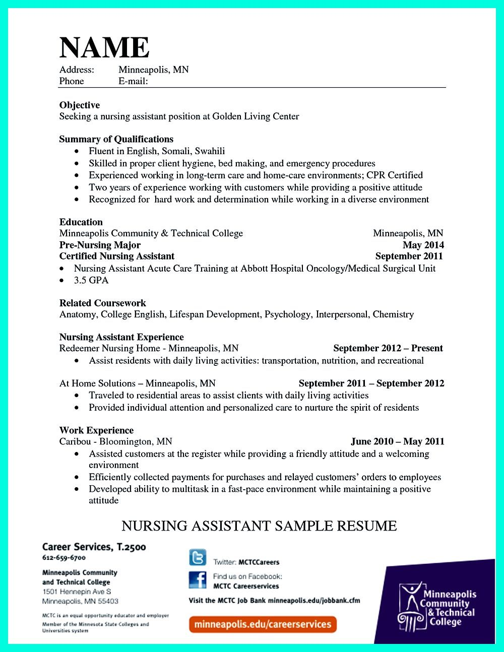 Sample Resume For Nursing Assistant Extraordinary Writing Certified Nursing Assistant Resume Is Simple If You Follow .