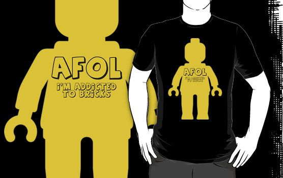 Minifig with AFOL 'I'm Addicted to Bricks' Slogan by Customize My Minifig