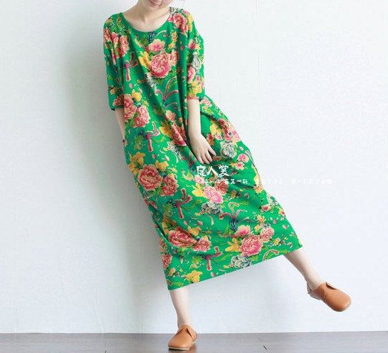 Casual Loose Fitting Long Sleeved Cotton and Linen  Long Dress Blouse(R)- Women Maxi dress - Green