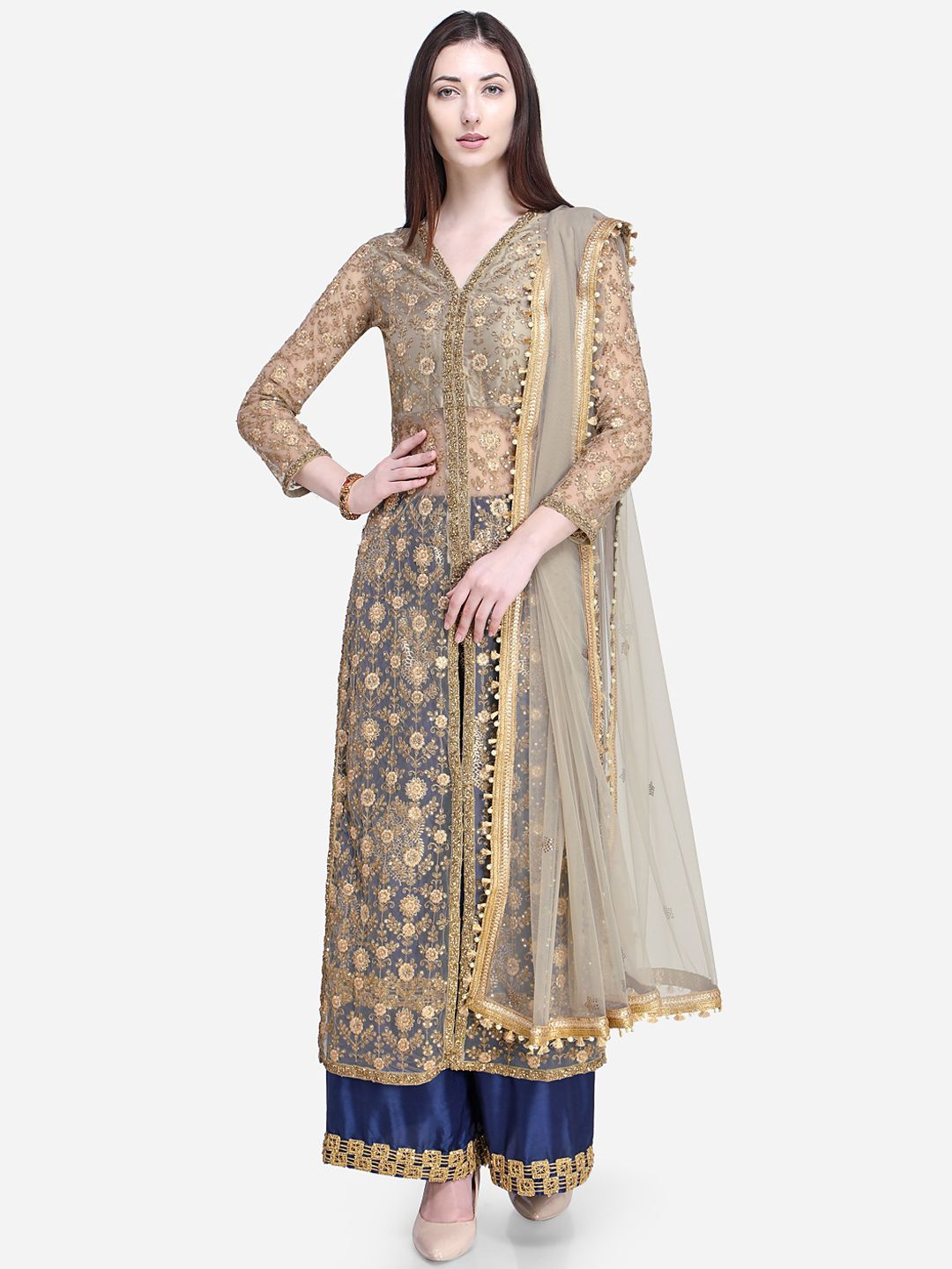 344bb972b5 Buy Stylee LIFESTYLE Beige & Blue Net Semi Stitched Dress Material - Dress  Material for Women