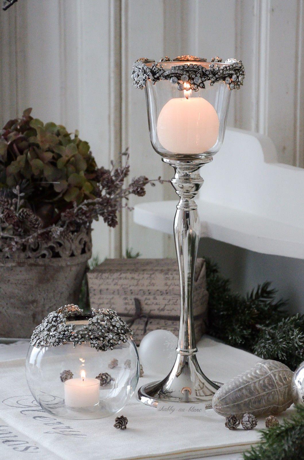 Windlicht Glaswindlicht Kerzenhalter Shabby Landhaus Strass