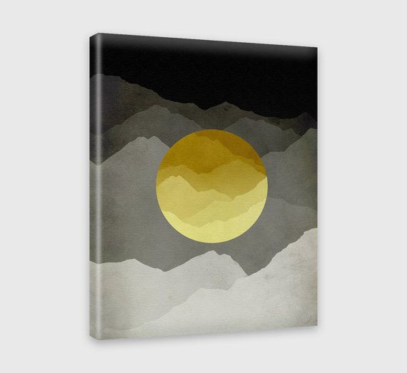 Large Abstract Art, Mountain Print, Mid Century Modern Art, Wall ...