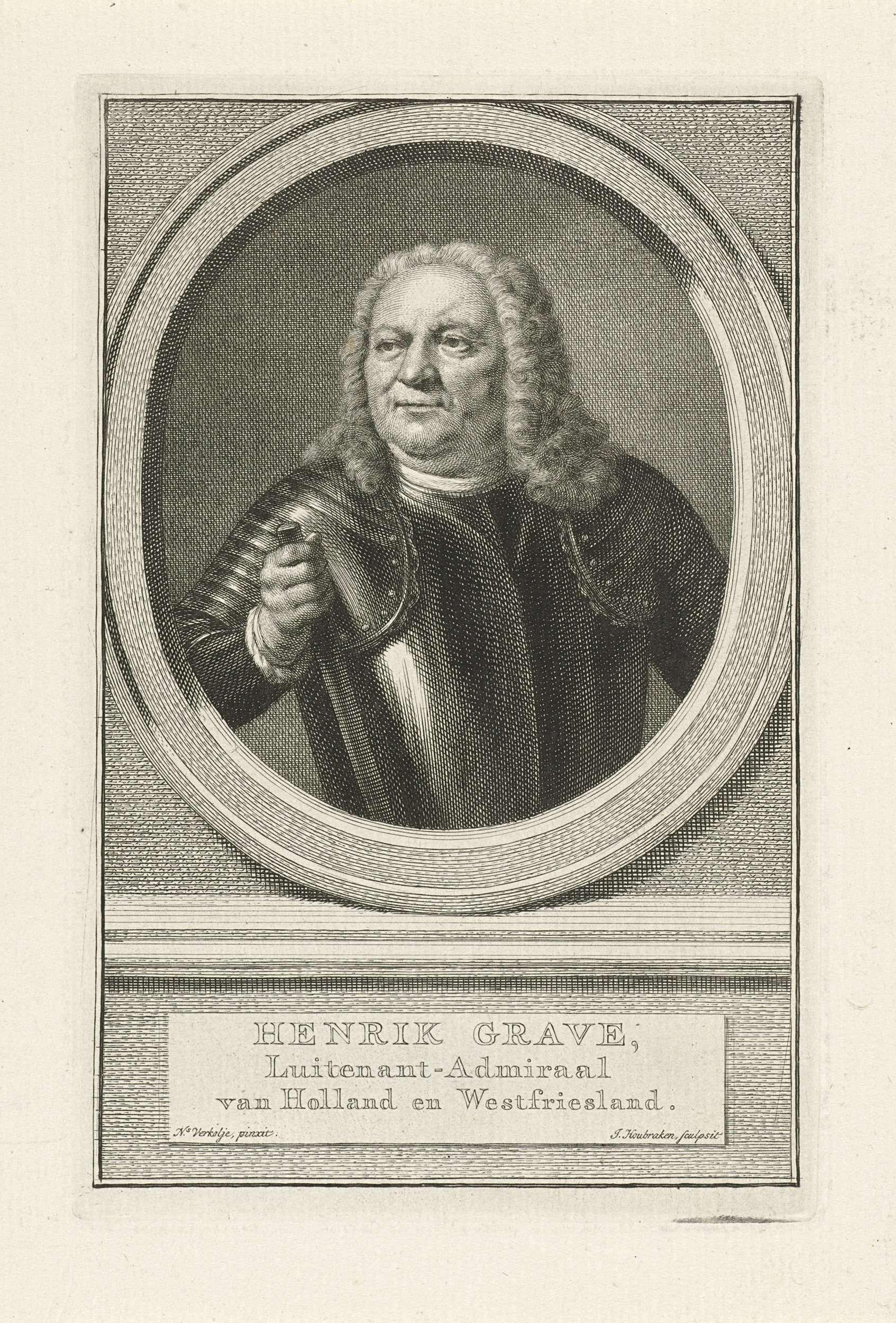 Jacob Houbraken | Portret van Hendrik Grave, Jacob Houbraken, 1749 - 1759 | Buste van Hendrik Grave in een ovaal. Het portret rust op een plint waarop zijn naam en gegevens in drie regels in het Nederlands.