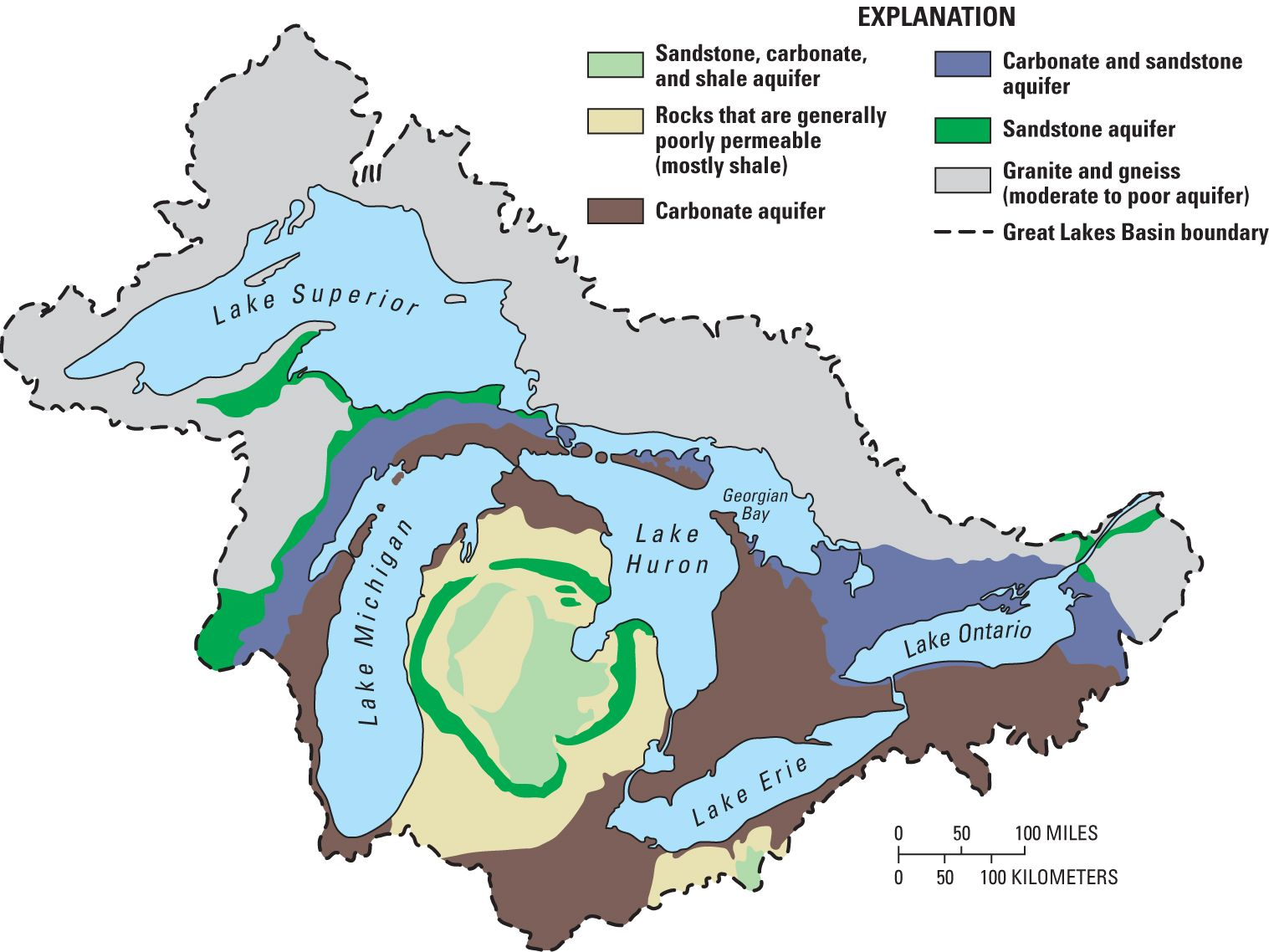 Map Of The Great Lakes Basin And Its Geology
