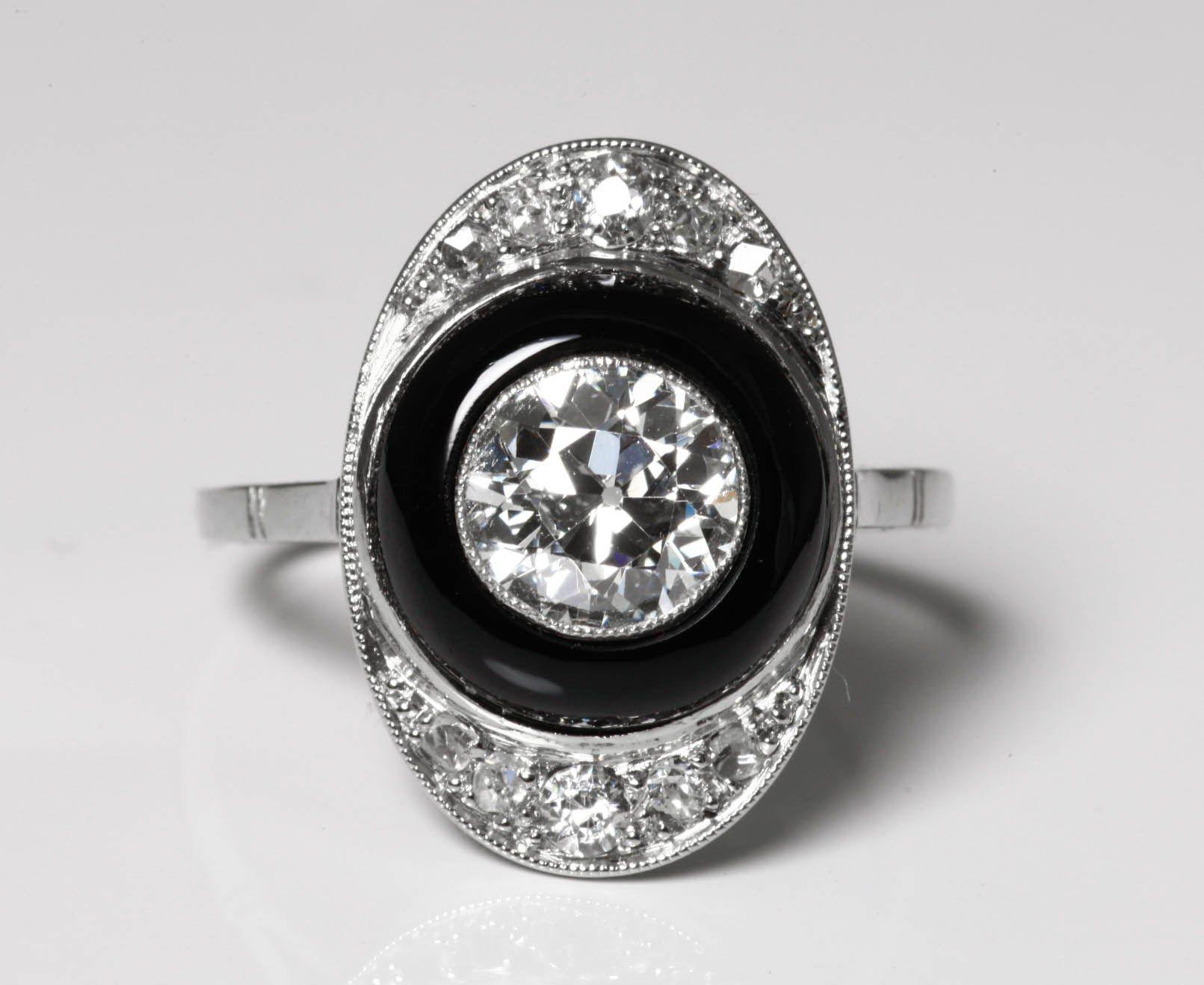 bague diamant et onyx
