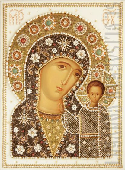 Icon of the Mother of God of Kazan. To Order. #CatalogOfGoodDeeds #CatalogOfStElisabethConvent #handmade #sewingworkshop #church #worship #shrouds #MotherOfGod #Theotokos #HolyTheotokos #VirginMary #Christ #JesusChrist #Savior #Pantocrator #ChristThePantocrator #Trinity #HolyTrinity #HolySpirit #icon #embroidery