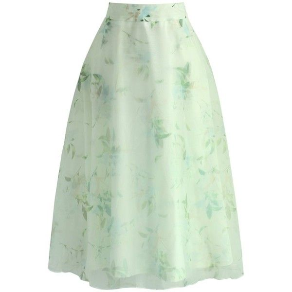 5e744d56e6 Chicwish Ode to Spring Organza A-line Skirt ($45) ❤ liked on Polyvore  featuring skirts, green, floral printed skirt, floral knee length skirt, ...