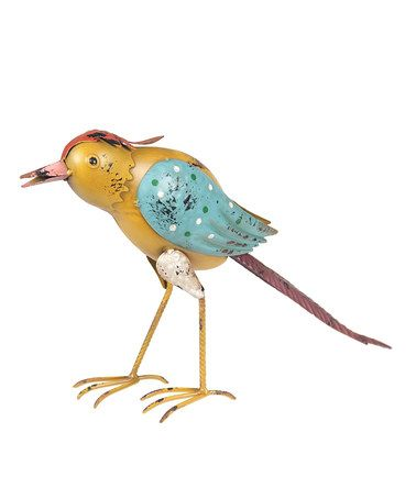 Love this Aqua & Yellow Bird Figurine on #zulily! #zulilyfinds