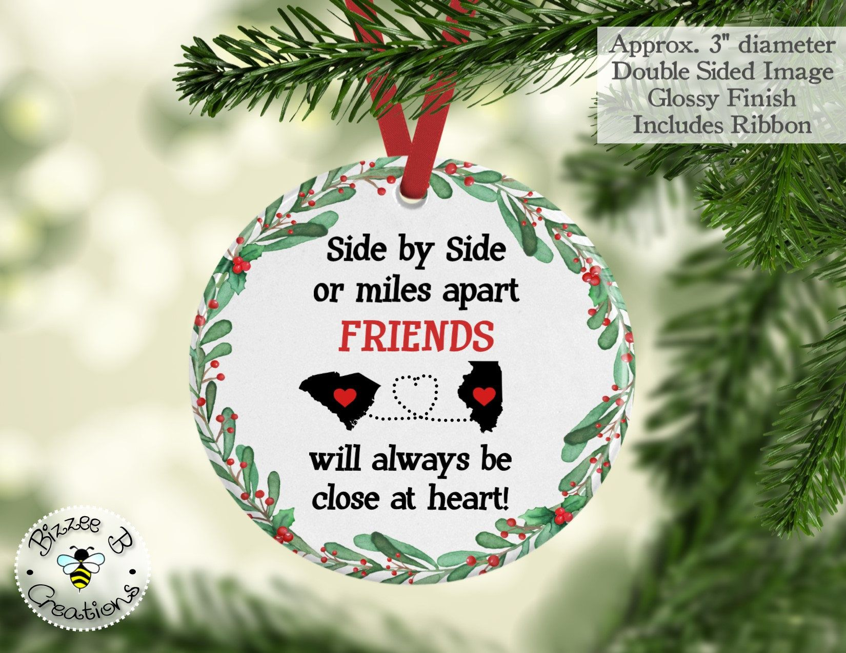 Long Distance Ornament Custom Sates Ornament Side By Side Or Miles Apart C Custom Christmas Ornaments Christmas Gifts For Friends Sister Christmas Ornaments