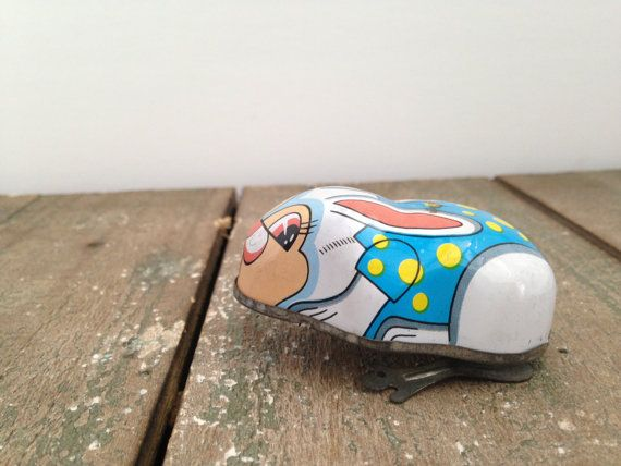 Adorable vintage tin wind up bunny by ThePinkRoom on Etsy