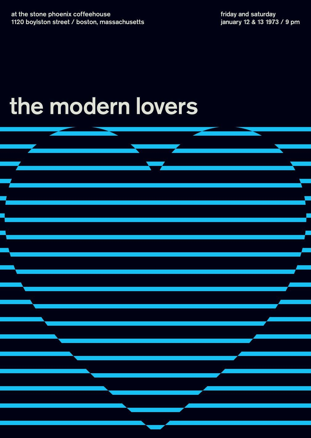 The Modern Lovers At The Stone Phoenix 1973 The Modern Lovers Concert Poster Design Typography Poster Design