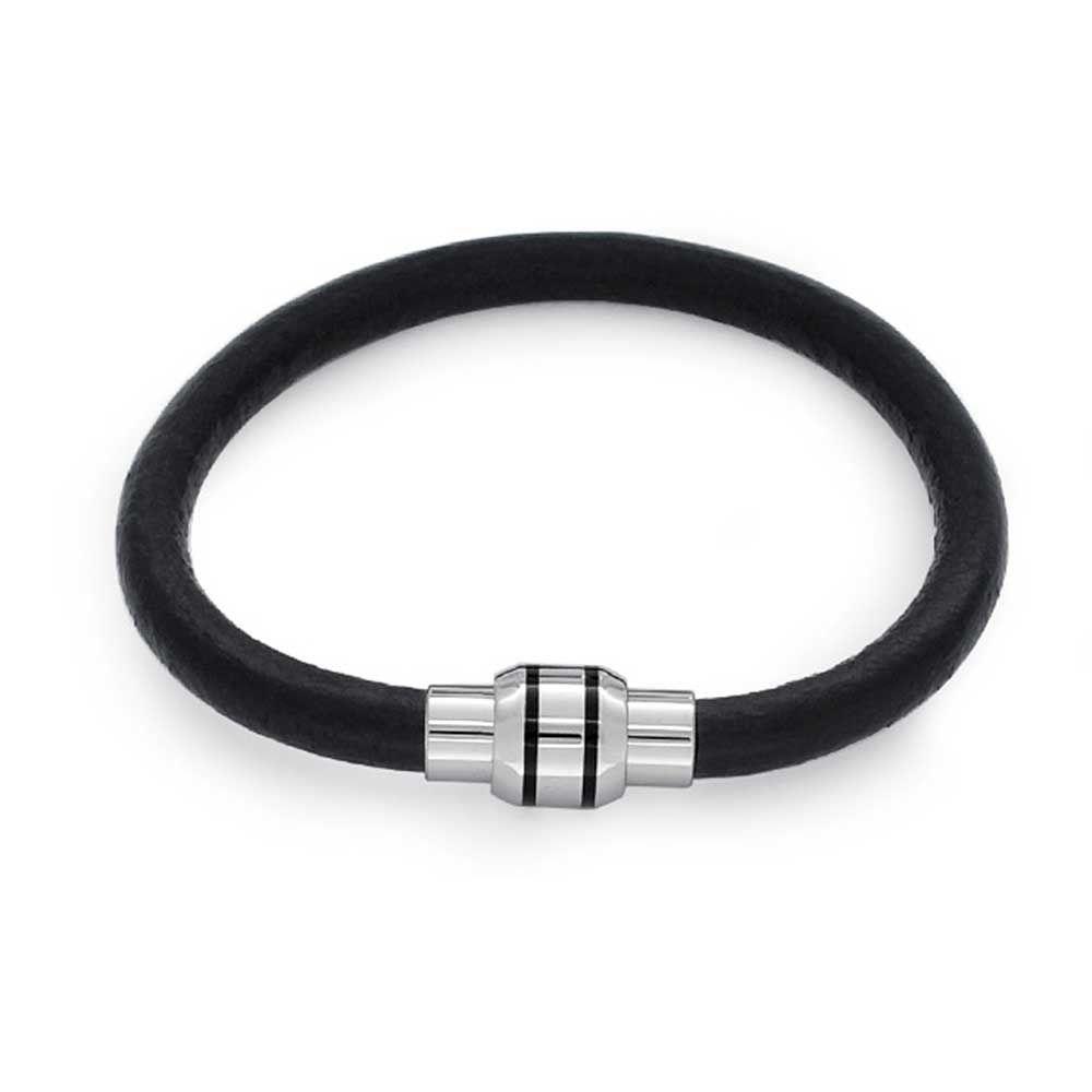 6e615748a011 Pulsera De Cuero Negro Bling Jewelry De Acero Inoxidable Par -   349.23 en  MercadoLibre