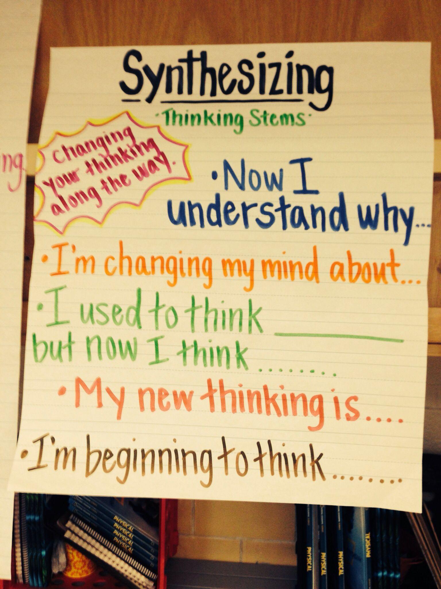 Synthesizing Sentence Starters Chart