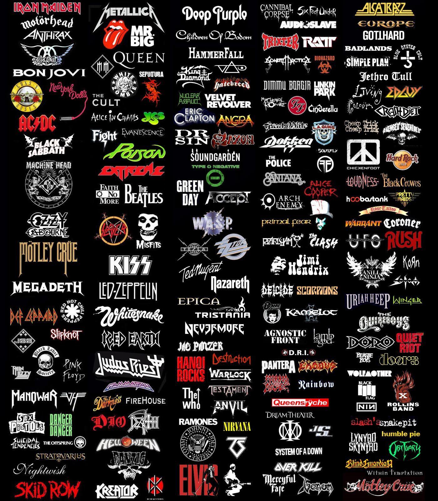 so many band logos! | Heavy Metal!!!! | Pinterest | Rochas ...