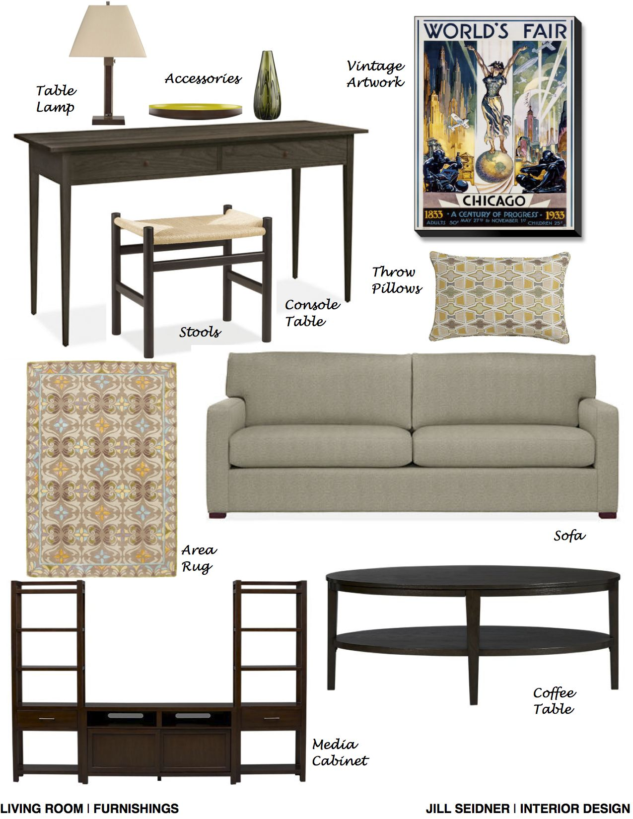 Oak Park IL Online Design Project Living Room Furnishings Concept Board