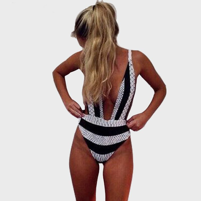 37dc1d9883927 Black & White Striped Deep V Neck Sexy Brazilian One Piece Bathing Suit S-XL