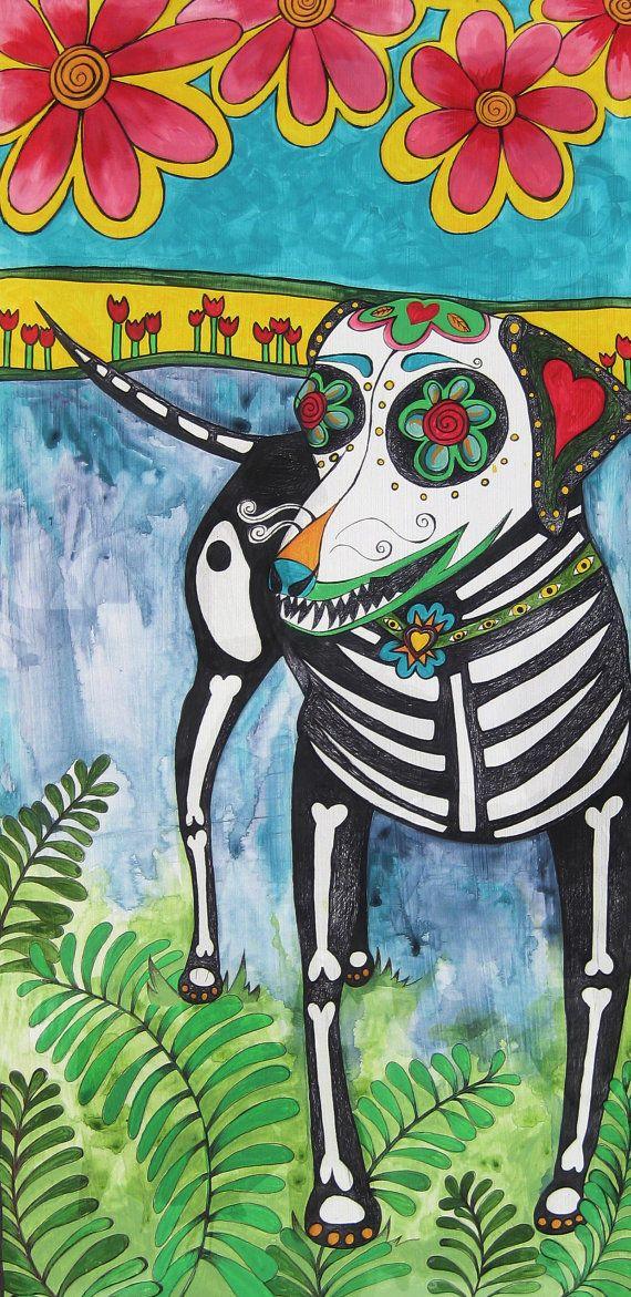 Color Print, Original Pet Portrait, Rhodesian Ridgeback, Dia de los Muertos, Folk Art, Mexican. $20.00, via Etsy.