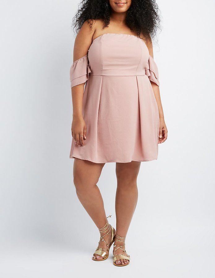Charlotte Russe Plus Size Off-The-Shoulder Skater Dress