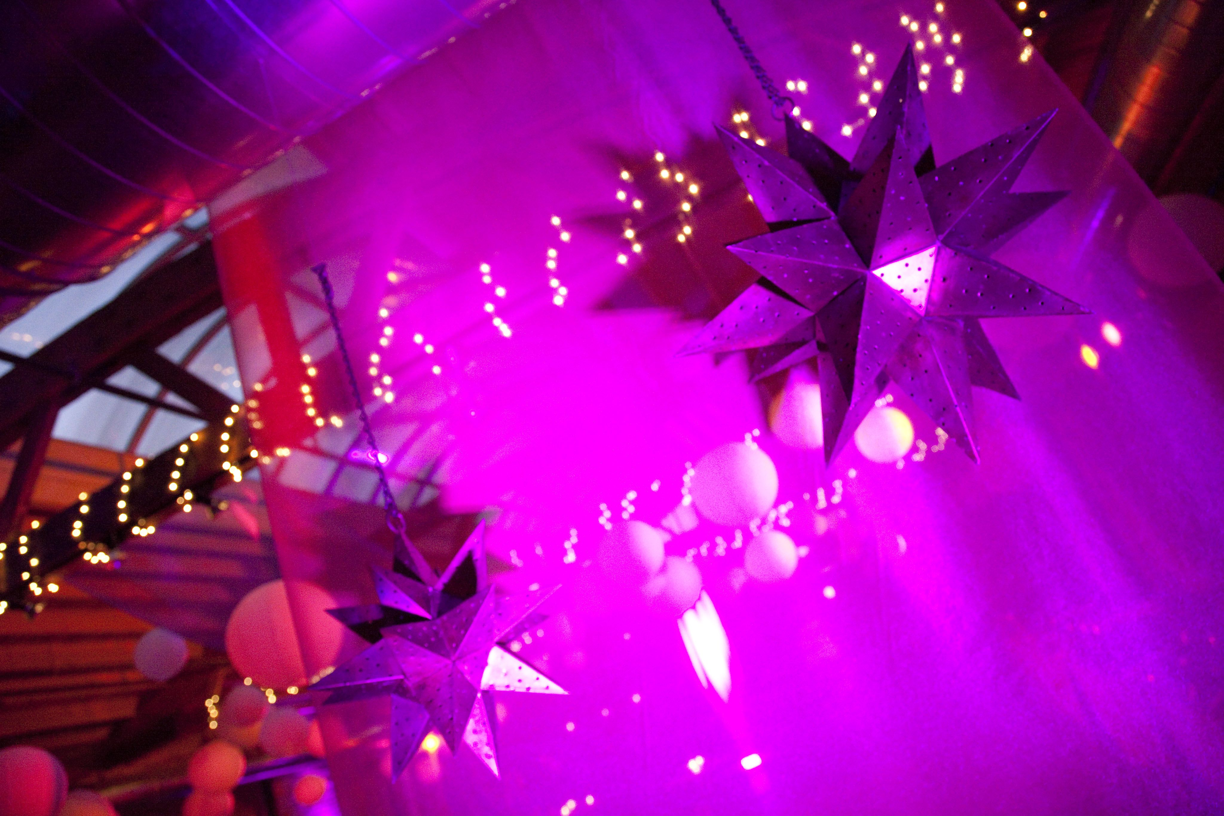 Wedding stage decoration with balloons  Sangeet purple stars lights  Indian Weddings  Pinterest  Creative