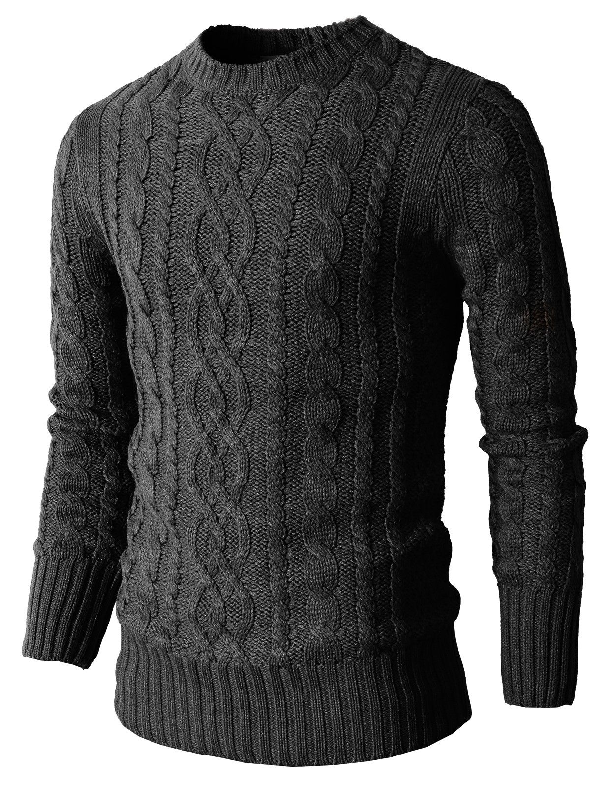 Mens Casual Knit Crewneck Pullover Sweater With Twisted Pattern (KMOSWL025)  #doublju