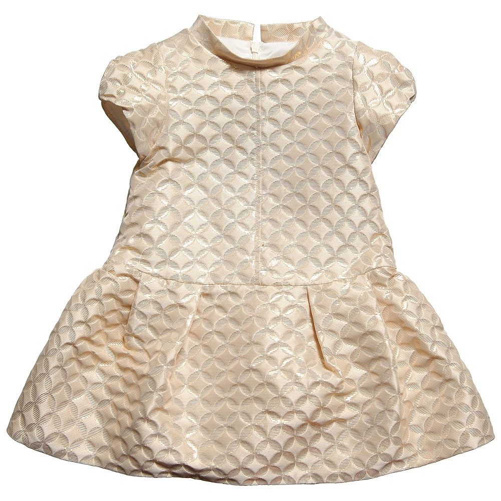 Simonetta girls gold brocade short sleeve dress girls niñas