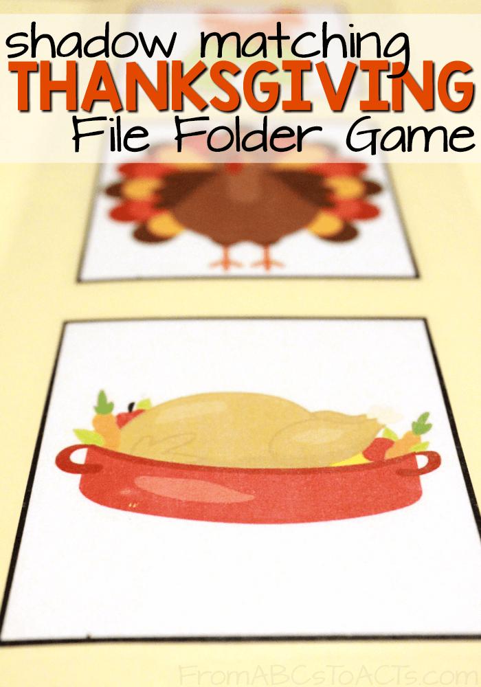 Thanksgiving Shadow Matching File Folder Game | File folder games ...