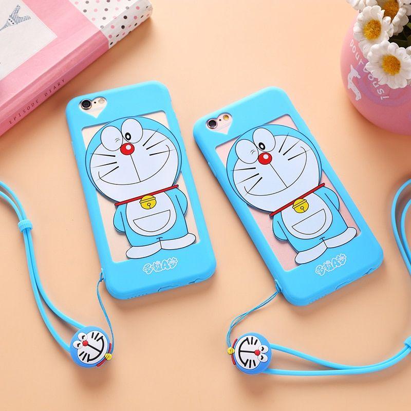 For Iphone 7 7 Plus Hollow Doraemon Iphone 5 5s For Iphone 6 6s Plus Soft Cover Cartoon Pink Girl Cat Women Case Rope Doraemon Wallpapers Doraemon Doraemon Cartoon