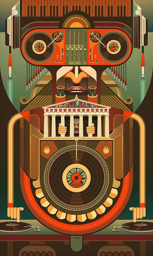 Habeat Records Robot (http://www.prop4g4nd4.com)  love the colors and the design. I also like the fact that it takes awhile to notice all of the elements.