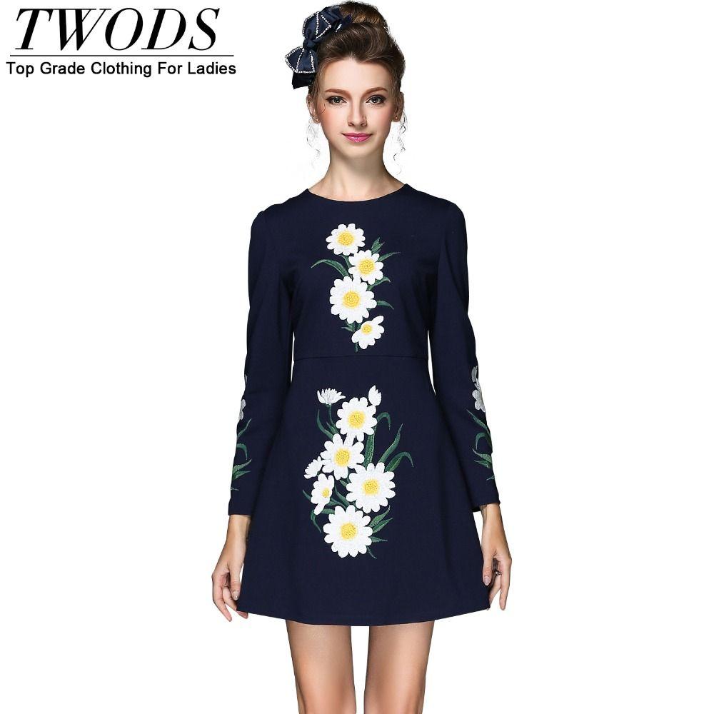 S xl est elegant embroidery aline dress long sleeve autumn short