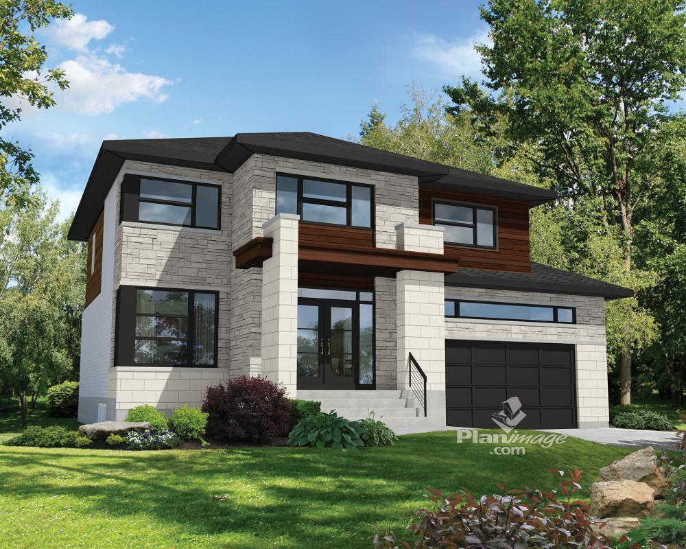 Imposante et lumineuse cette maison tage de style contemporain mesure 47 pieds de largeur for Constructeur maison prefabriquee