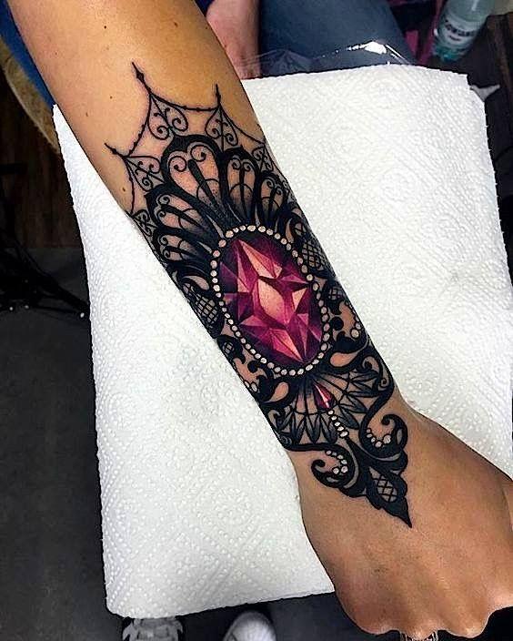 Uk Tattoo Ideas Gem Stone Ideas Lace Tattoos Pearl Tattoos Color Tattoos Girls With Tattoos Feminine Tattoos Tattoos Lace Tattoo