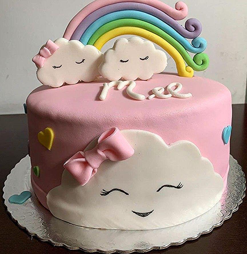 Bolo Cha De Bebe Menina Nuvens E Arco Iris In 2020 Birthday Cake