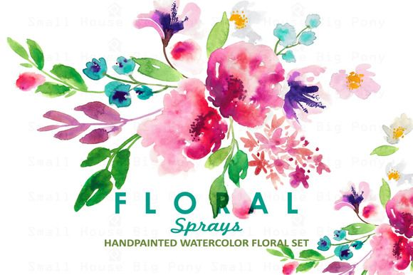 Floral Sprays Watercolor Clip Art Flower Clipart Free