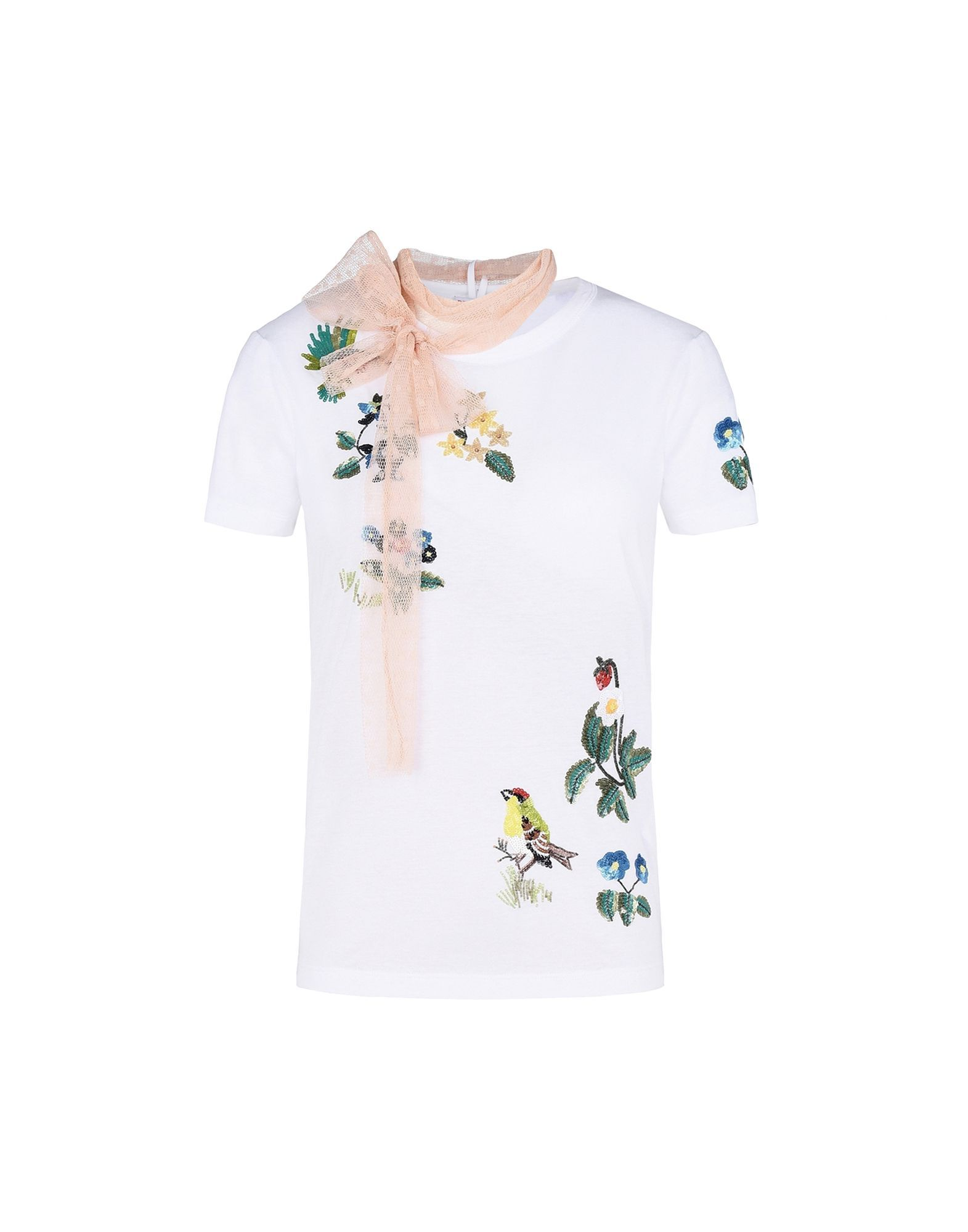 Red valentino flower and birds embroidered t shirt t for Red valentino t shirt