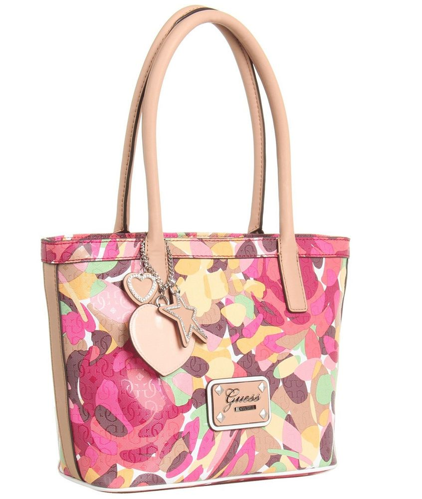 c13cdf3eb24a  98.00 GUESS Airun Small Carryall Handbag Color Pink Multi