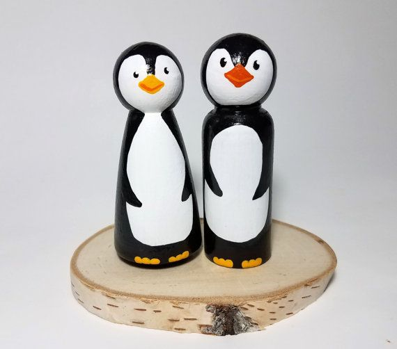 Wooden Penguin Wedding Cake Topper, Rustic Wedding Cake Topper ...