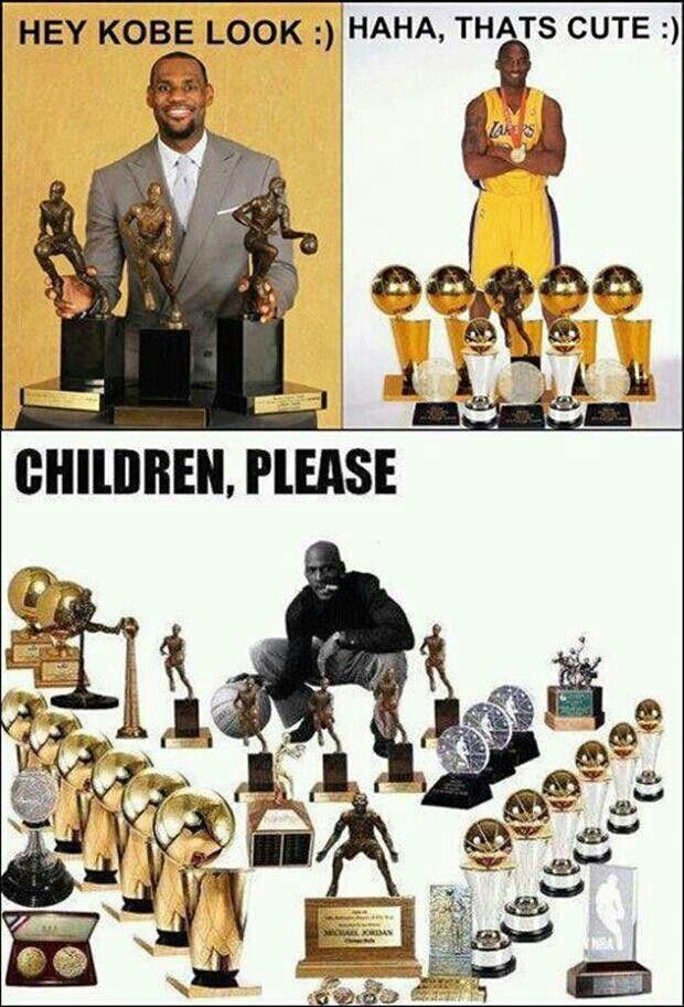 Michael Jordan and his trophies versus Kobe and LeBron