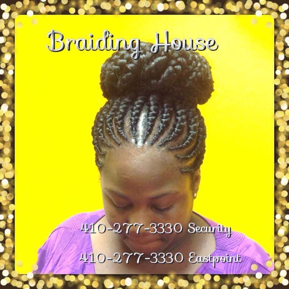 Ghana Braids in a bun by the Braiding House